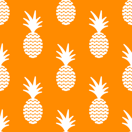 ananas: Pineapple simple vetor seamless background. Textile fabric orange ananas and white pattern. Baby simple apparel and linen design. Illustration