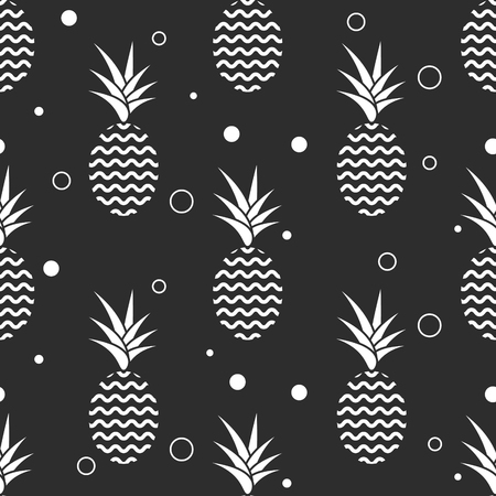 cartoon pineapple: Pineapple simple vetor seamless background. Textile fabric ananas monochrome grey pattern. Baby simple scandinavian style apparel and linen design.