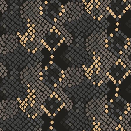 Piel de serpiente textura inconsútil. colores de tono marrón modelo ornamento serpiente de tejido textil. Modelo de cuero de reptil artificial. Ilustración de vector