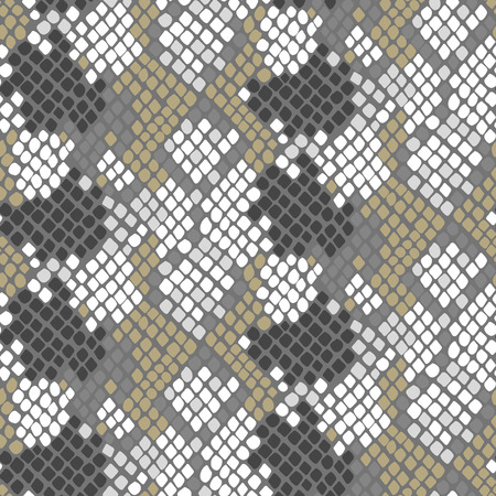 snakeskin: Python skin seamless vector texture. Gray and gold tone colors snake pattern ornament for textile fabric. Artificial reptile python leather pattern.