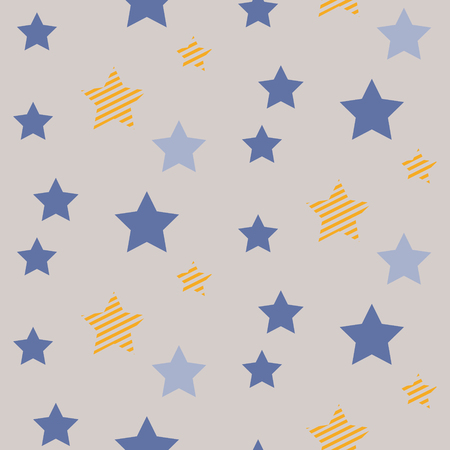 grey sky: Stars on night sky boy seamless vector pattern. Blue and yellow star shapes in the sky on grey background. Minimalist style textile fabric cartoon nature ornament.