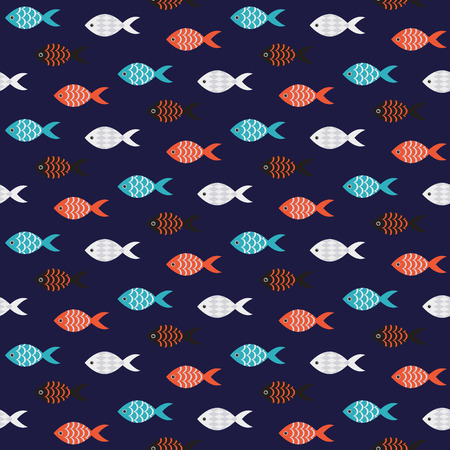 Vector fish seamless pattern. School of small red and black fish in rows on dark blue sea pattern. Summer marine theme.
