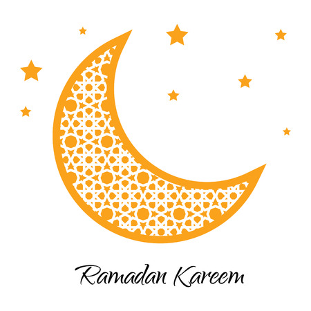 Ramadan Kareem moon with muslim ornament. Ramadan greeting card. Ramadan vector. Ramazan moon and yellow stars. Vector illustration.  イラスト・ベクター素材