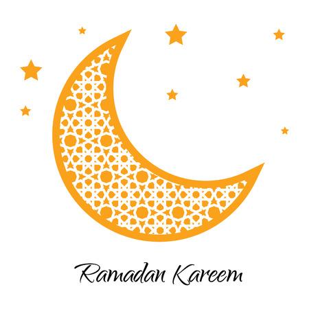 ramazan: Ramadan Kareem moon with muslim ornament. Ramadan greeting card. Ramadan vector. Ramazan moon and yellow stars. Vector illustration. Illustration