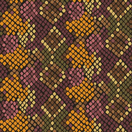 Piel de serpiente textura inconsútil. Marrón ornamento amarillo patrón de colores de tono de la serpiente para la tela textil. Modelo de cuero de reptil artificial.