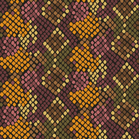 snake leather: Snake skin seamless vector texture. Brown yellow tone colors snake pattern ornament for textile fabric. Artificial reptile leather pattern. Illustration