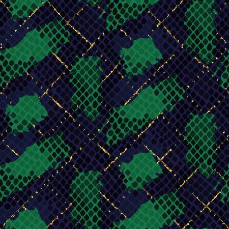 Piel de serpiente verde de vectores sin fisuras textura. Ornamento azul y verde patrón de colores de tono de la serpiente para la tela textil. Modelo de cuero de reptil artificial con pinceladas y detalles en oro. Ilustración de vector