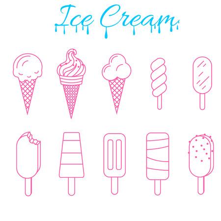 establece el helado ilustración vectorial. Icono del contorno tema colección verano helado. Cucharada de cono, de paleta y la línea subdae Doodle del arte.