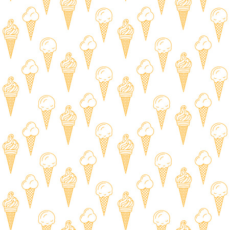 popsicle: Orange ice cream vector seamless pattern. Summer ice dessert collection. Waffle cone, popsicle and sundae doodle art icon background for wrap and textile on white.