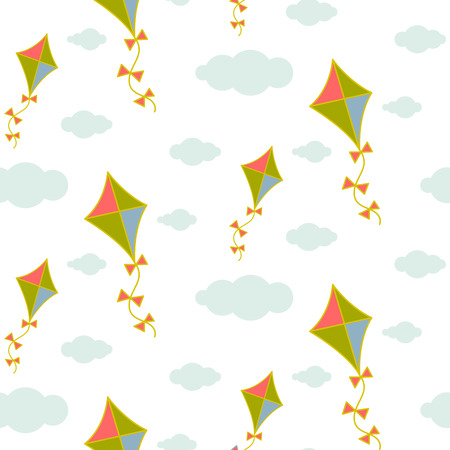 minimalist style: Kite in sky seamless vector pattern. Blue and green kite in the grey clouds on white background. Minimalist style textile fabric boy child ornament.