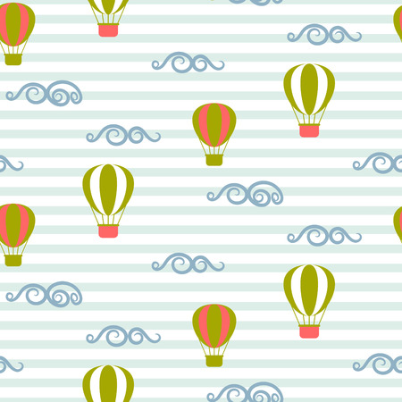 minimalist style: Hot air balloons seamless vector pattern. Blue and green air balloons in the sky on stripe background. Minimalist style textile fabric retro transportation boy kid ornament. Illustration