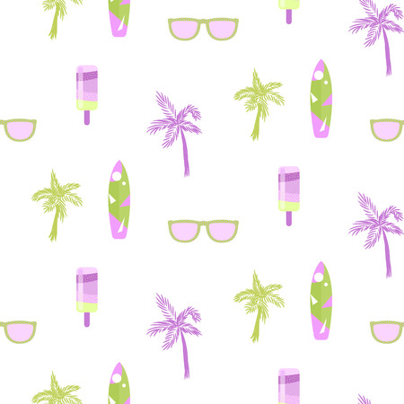 chill out: Summer beach party seamless pattern for cards or fabric. Ice cream, palm tree, sunglasses and surf board chill out theme pattern. Green and lilac colors on white.