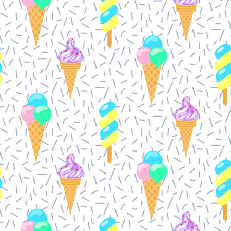 shavings: Ice cream vector seamless pattern. Summer ice dessert collection. Waffle cone and sundae ice-cream for wrap and textile on shavings background. Illustration