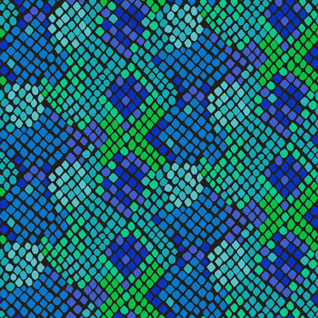 Snake skin seamless vector texture. Blue and green tone colors snake pattern ornament for textile fabric. Artificial reptile leather pattern. Vettoriali