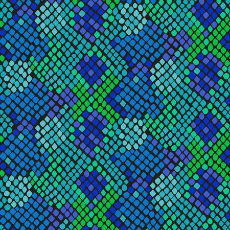 serpiente cobra: Piel de serpiente textura inconsútil. Ornamento azul y verde patrón de colores de tono de la serpiente para la tela textil. Modelo de cuero de reptil artificial. Vectores