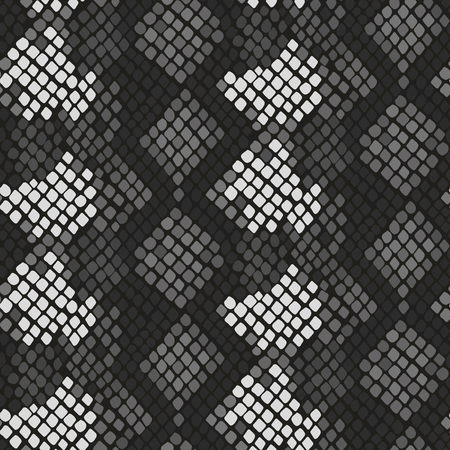 snakeskin: Snake skin seamless vector texture. Gray tone colors snake pattern ornament for textile fabric. Artificial reptile leather pattern.