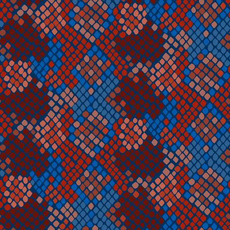 reptile skin: Snake skin seamless vector texture. Blue and red tone colors snake pattern ornament for textile fabric. Artificial reptile leather pattern.