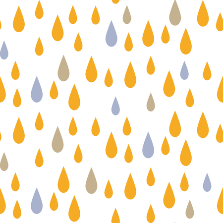 minimalist style: Rain drops seamless vector pattern. Blue and yellow rainfall in the sky on white background. Minimalist style textile fabric kid cartoon ornament. Illustration