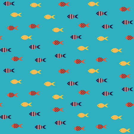 school of fish: Vector fish seamless pattern. School of small yellow and red fish in rows on blue sea pattern. Summer marine theme.