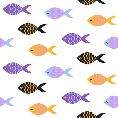 school of fish: Vector fish seamless pattern. School of fish in rows on white sea pattern. Summer marine theme.