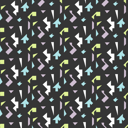 nineties: Abstract geometric shapes dark seamless pattern. Vintage geometry inspired seamless lilac, green and blue on dark background. Illustration