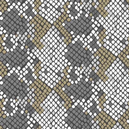 snakeskin: Serpent skin seamless vector texture. Gray and white tone colors snake pattern ornament for textile fabric. Artificial reptile leather pattern.