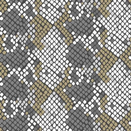 Slang huid naadloze vector textuur. Grijze en witte klankkleuren snake patroon ornament voor textiel. Kunstmatige reptielen leder patroon.