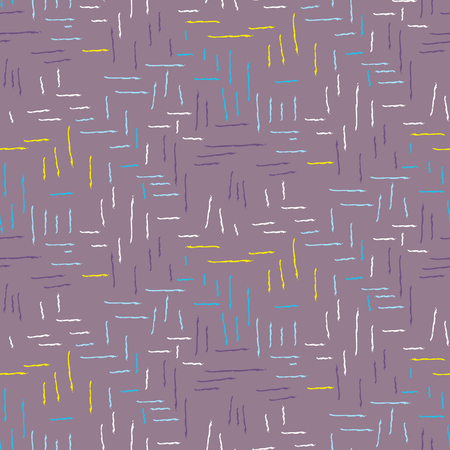 Brush stroke seamless purple dashed vector seamless pattern. Rough grid violet background with small marks.