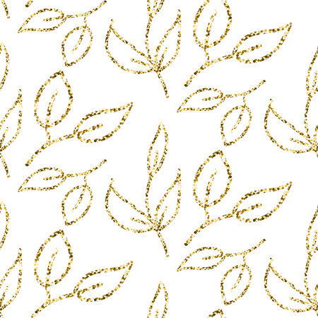 shimmer: Gold glitter foliage seamless pattern. Shimmer leaves texture white background for gift wrap paper and wallpaper. Illustration