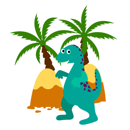 rain forest: Green happy dinosaur applique illustration. Dino in rain forest with palms and mountains. For kids apparel, books and cards