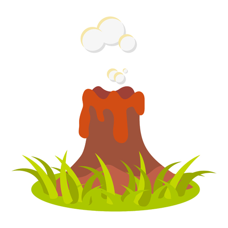 spew: Cartoon volcano eruption illustration. Isolated volcano on white.
