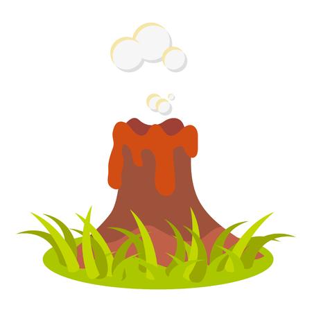 Cartoon volcano eruption illustration. Isolated volcano on white.