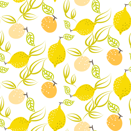 Yellow lemon with leaves seamless pattern. Citrus fruits on white background summer fresh design for textile and apparel.