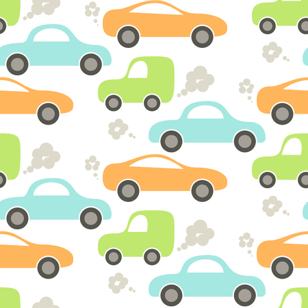 juvenile: Car cute baby vector seamless pattern. Kid fabric and apparel design. Blue, green and orange cute cars pattern. Illustration