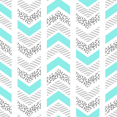 nineties: Herringbone abstract seamless pattern in memphis style. blue, black and white arrows in retro 80s design.