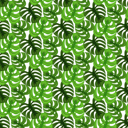 dense: Monstera tropic plant leaves green dense foliage seamless pattern. Exotic nature pattern for fabric, wallpaper or apparel.