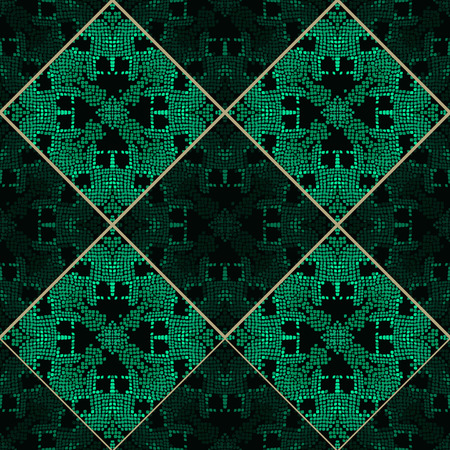 snakeskin: Reptile skin patchwork green vector texture. Emerald green tone colors snake pattern ornament for textile fabric. Artificial reptile leather pattern. Illustration
