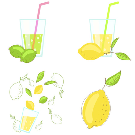 lime juice: Lemon and lime juice vector illustration. Yellow and green citrus fruits with glass of lemonade.