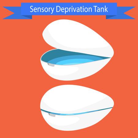 Sensorische deprivatie Tank vector illustratie. Drijvende spa ontspannen procedure capsule.