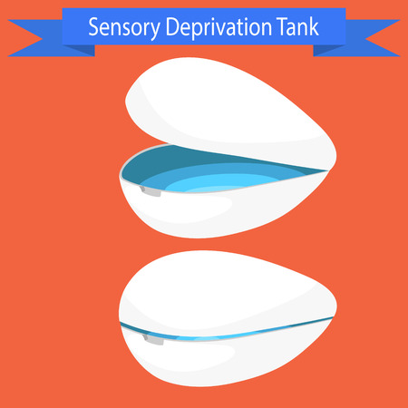 deprivation: Sensory deprivation Tank vector illustration. Floating spa relaxing procedure capsule.