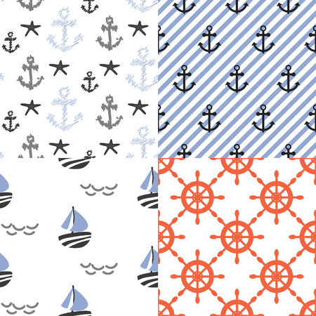 diagonal lines: Seamless vector pattern set with nautical sailor theme. Anchors, boats and red helms repeat blue diagonal stripe background. Illustration