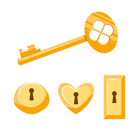 Key and keyhole gold vector cartoon illustration. Isolated vintage keyhole set on white. Keyhole icon set. Illustration