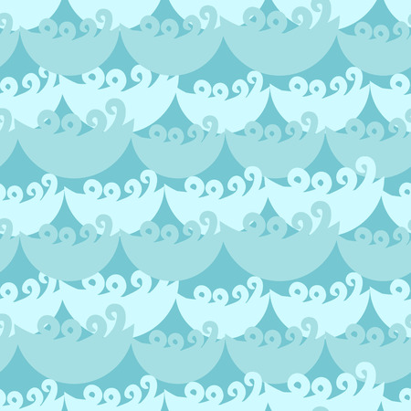 tide: Blue water curly waves seamless pattern. Water flow ocean tide background for textile fabric.