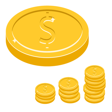 coin stack: Dollar coin vector icon illustration. Gold metal coin stack with dollar symbol. Earning increase concept. Illustration