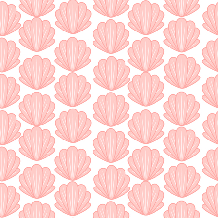 Pink shell cute seamless vector pattern. Baby pink seashell background textile print.
