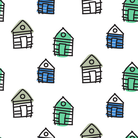 shack: Line houses scandinavian ornament. Vector hut hand drawn seamless pattern simple linear style with green and blue spots. Illustration