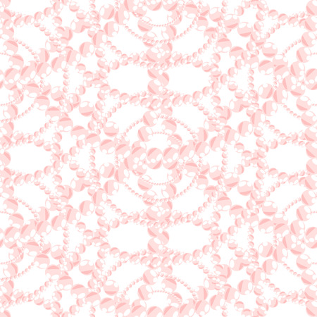 pearls and threads: Nacreous pearl pink jewelry seamless pattern vector. Chaplet bead background.