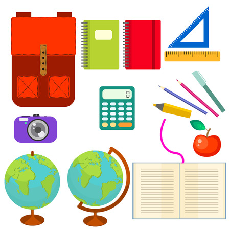 knapsack: School supplies vector clip art objects. Blackboard banner template with education objects - knapsack, globe, rulers and stationery items.