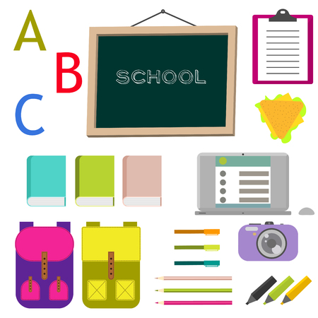 stationery items: School supplies vector clip art objects. Blackboard with education objects - backpack, notebook, books and stationery items. Illustration