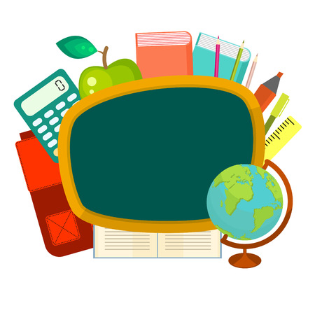 stationery items: School supplies vector clip art objects. Blackboard banner template with education objects - backpack, globe, books and stationery items. Illustration